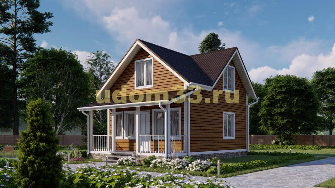 Дом из бруса 6х8.5 под ключ. Проект ДБ-22