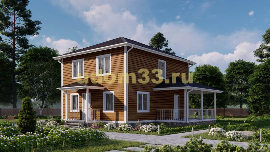 Дом из бруса 8х10 под ключ. Проект ДБ-28