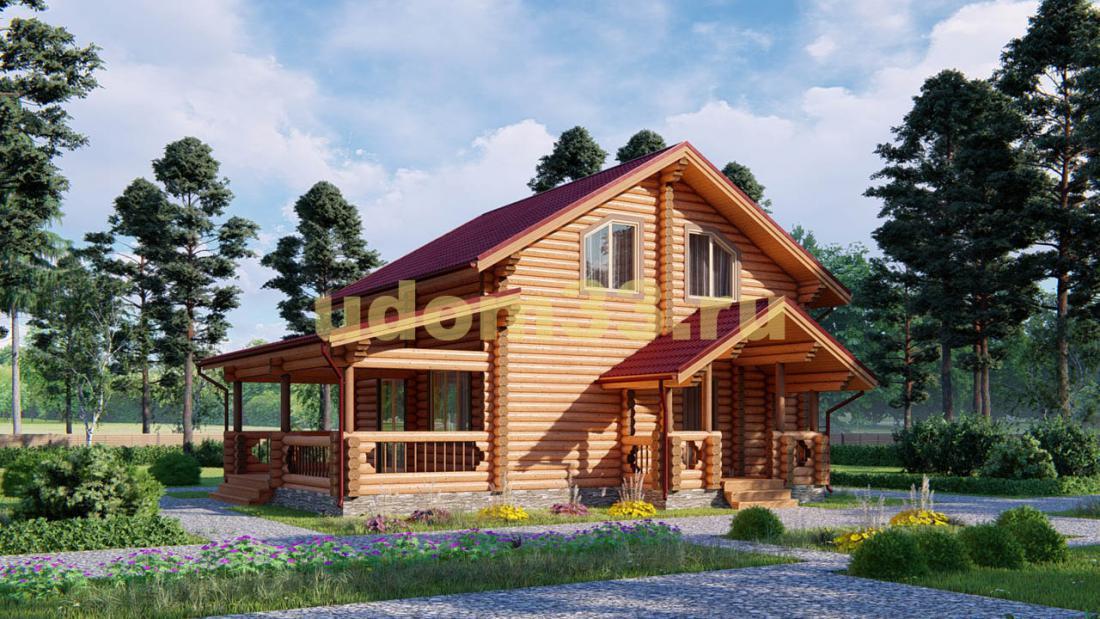 Дом из бревна 8.5х11 под ключ. Проект ДБР-1