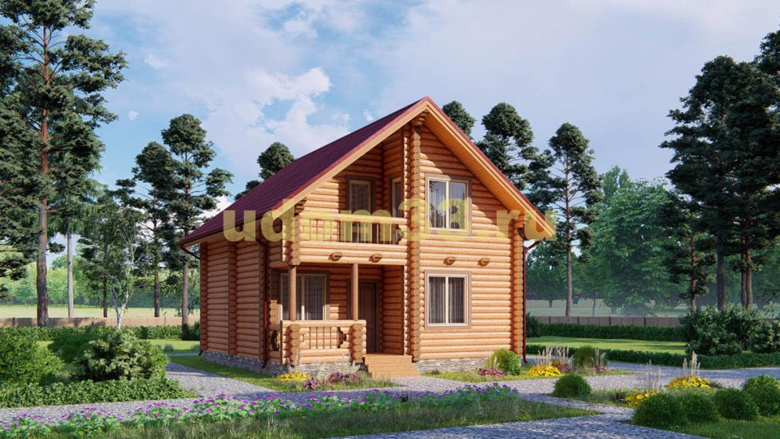 Дом из бревна 7.2х9.2 под ключ. Проект ДБР-15