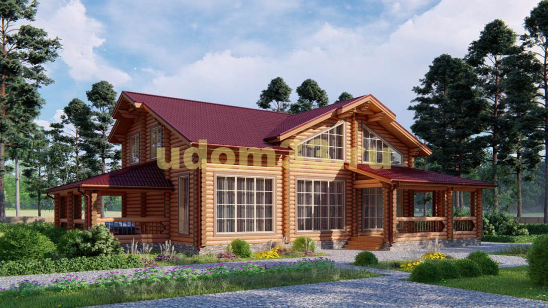 Дом из бревна 13.8х18.6 под ключ. Проект ДБР-16