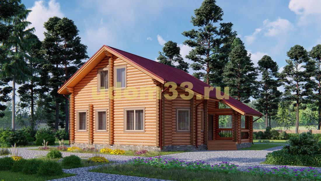 Дом из бревна 9х12.7 под ключ. Проект ДБР-17