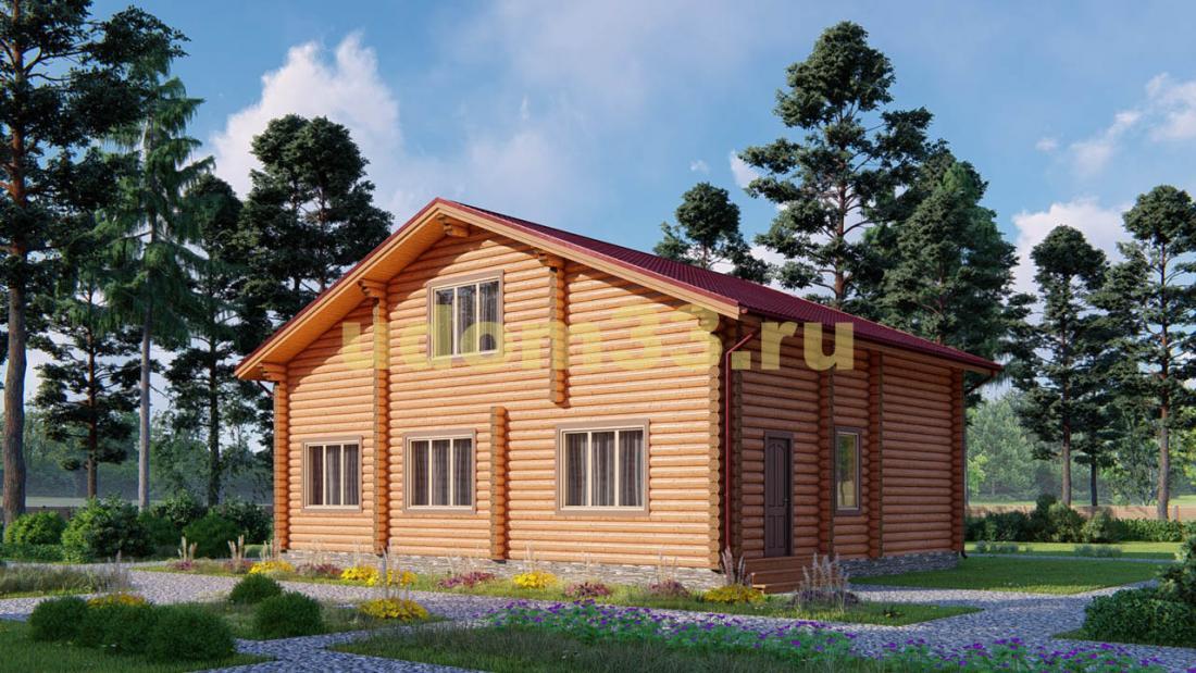 Дом из бревна 9.1х12.1 под ключ. Проект ДБР-24