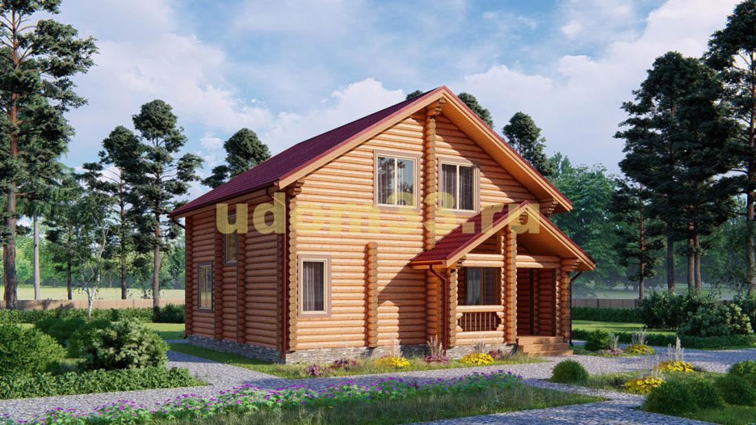 Дом из бревна 9х9.2 под ключ. Проект ДБР-4