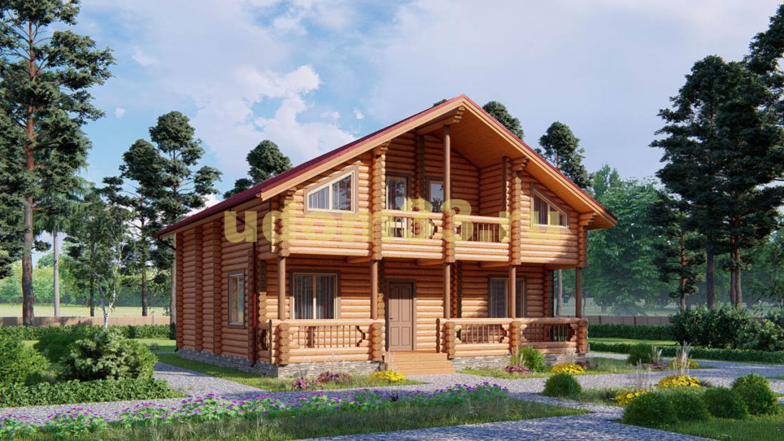 Дом из бревна 10.2х11.5 под ключ. Проект ДБР-7