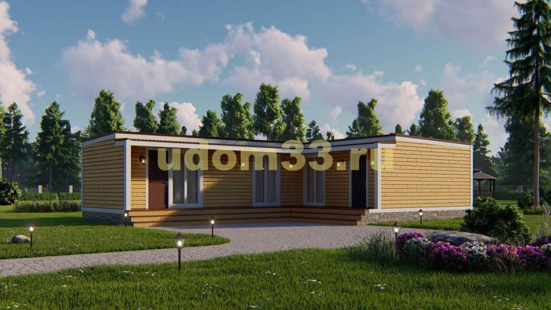 Современный одноэтажный каркасный дом. Проект ДК-103 «Воскресенск»