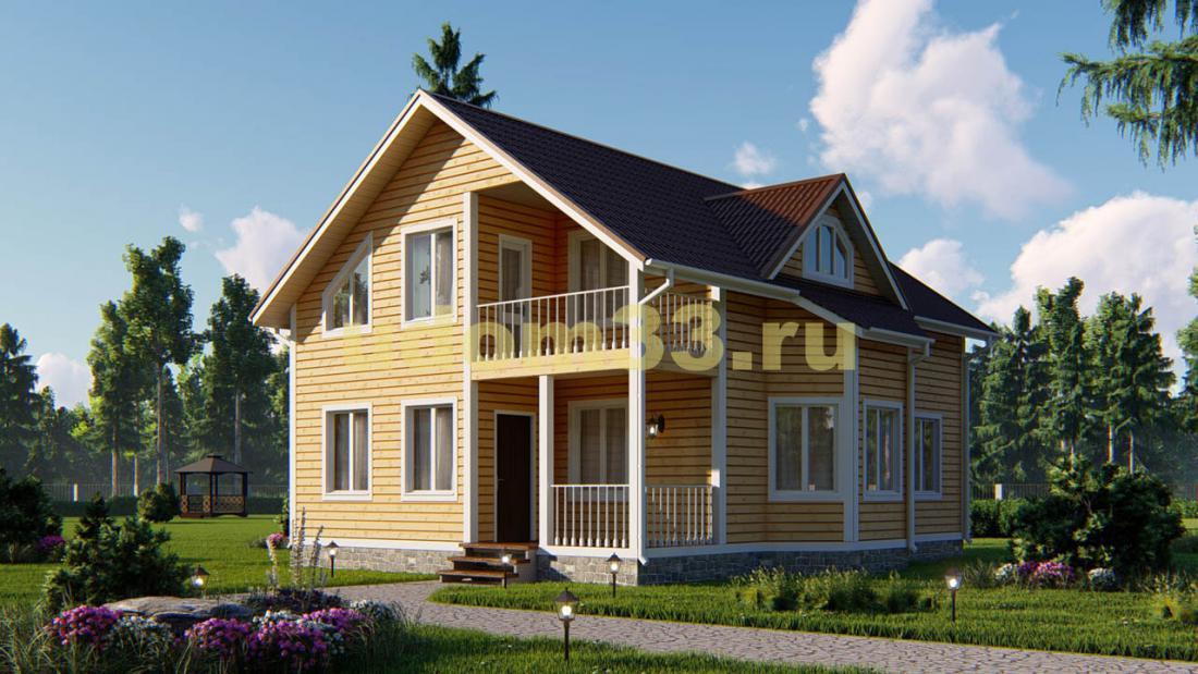Уютный просторный каркасный дом 9х10.5. Проект ДК-12
