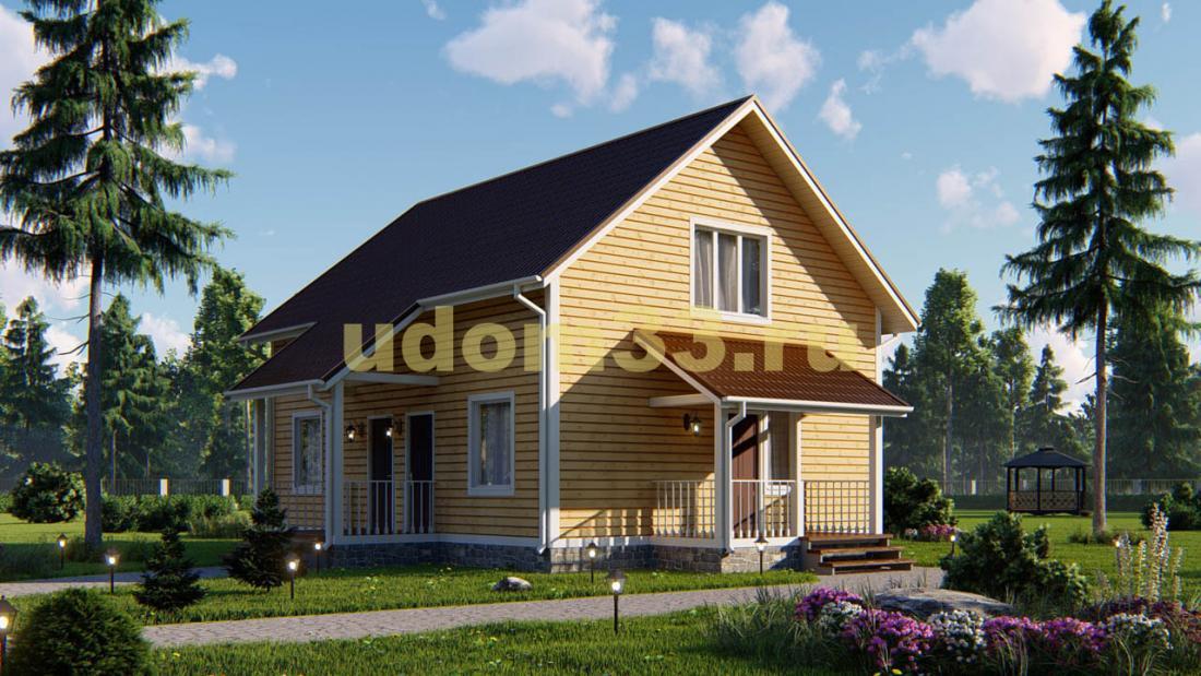 Каркасный дом 9.8х11.6 с сауной. Проект ДК-15