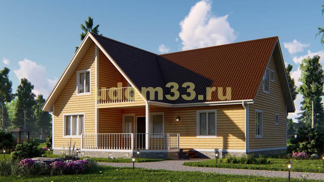 Большой двухэтажный каркасный дом 15.8х13.5. Проект ДК-19