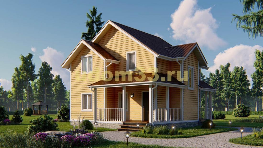 Красивый двухэтажный каркасный дом 9х9. Проект ДК-21
