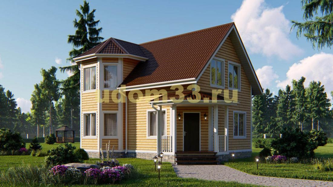 Двухэтажный каркасный дом 7х10 с эркером. Проект ДК-26