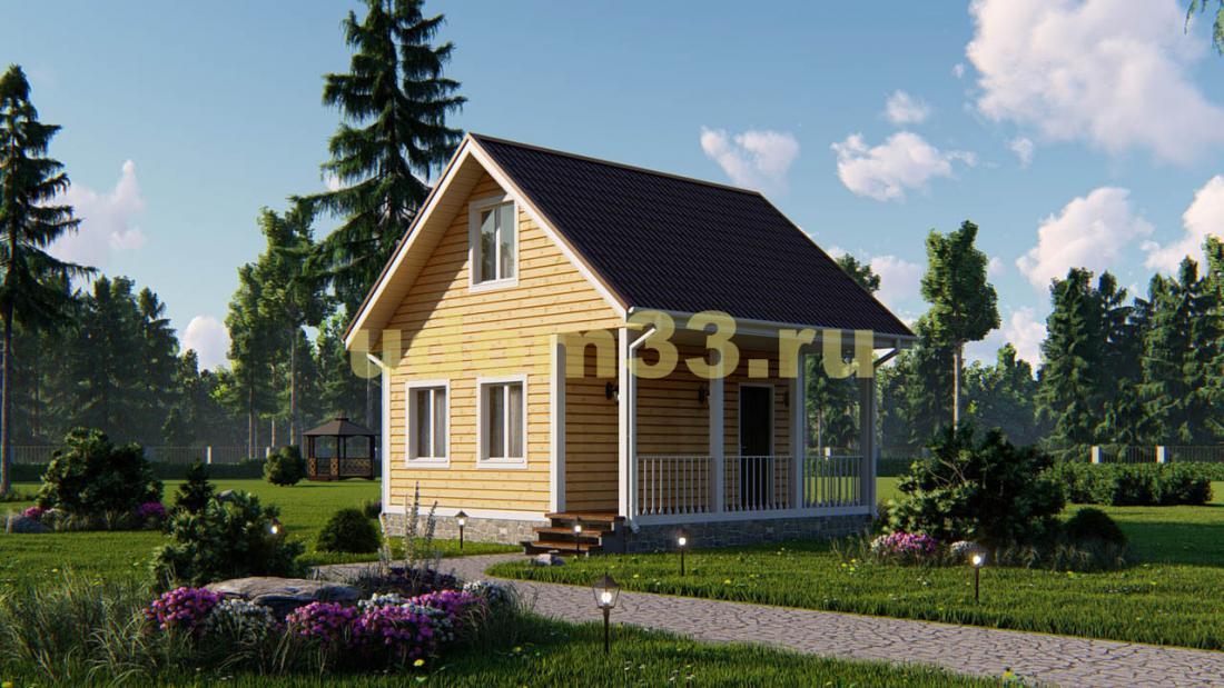 Недорогой каркасный дачный дом 6х6. Проект ДК-27