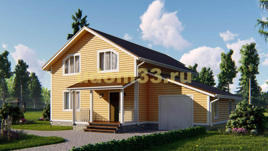 Большой двухэтажный каркасный дом с гаражом 12.9х14.3. Проект ДК-34