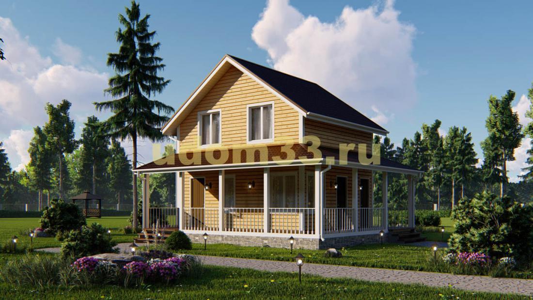 Двухэтажный каркасный дом 8 на 9 с террасой и баней. Проект ДК-42