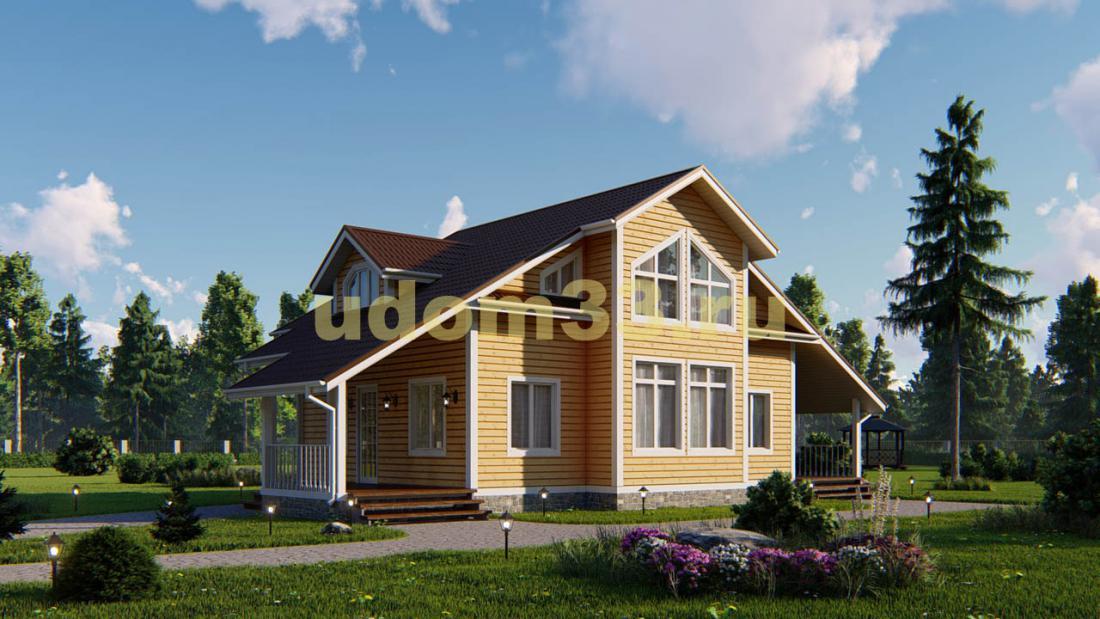 Большой двухэтажный каркасный дом 9.5х16.5. Проект ДК-47