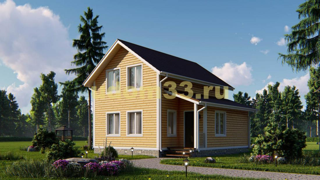 Двухэтажный каркасный дом 8х8. Проект ДК-48