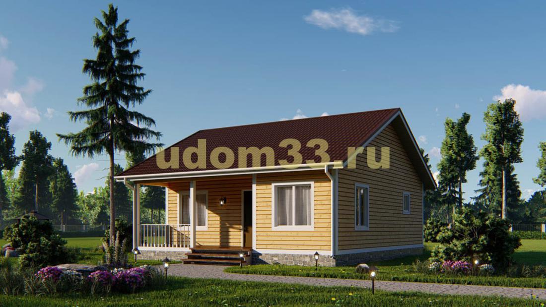 Одноэтажный каркасный дом 9х10 с террасой. Проект ДК-53