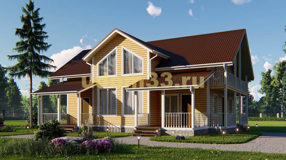 Большой двухэтажный каркасный дом 13х14. Проект ДК-54