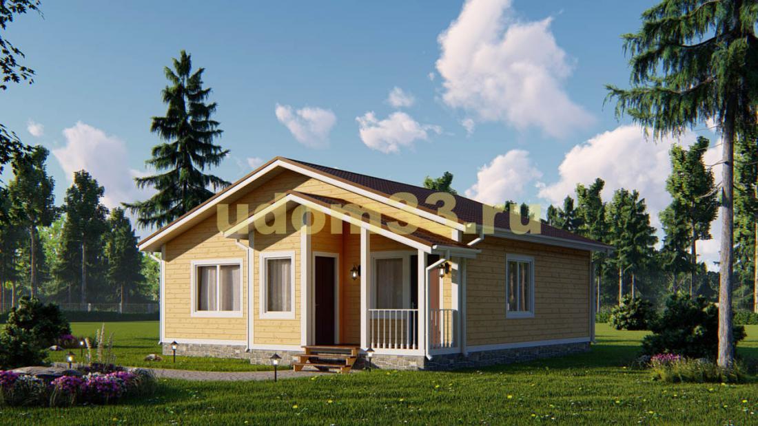 Одноэтажный каркасный дом 10х10.5. Проект ДК-62