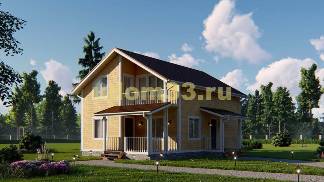 Двухэтажный каркасный дом 9.5х10.5. Проект ДК-67