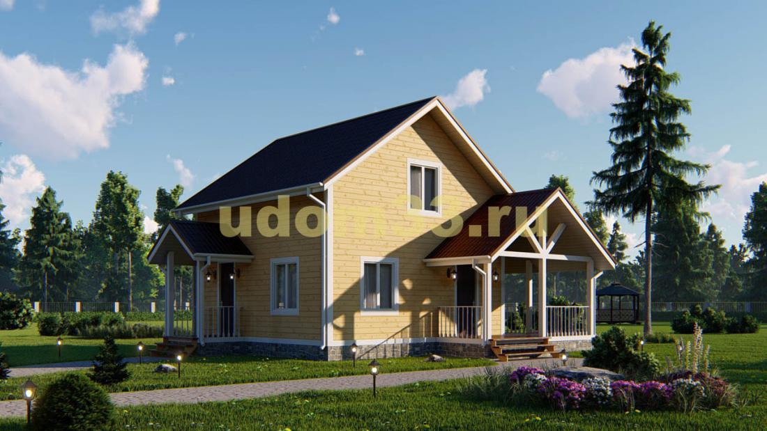 Недорогой двухэтажный каркасный дом 8.5х9. Проект ДК-69