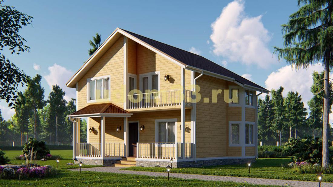 Двухэтажный каркасный дом 10.1х10.5 с эркером. Проект ДК-70