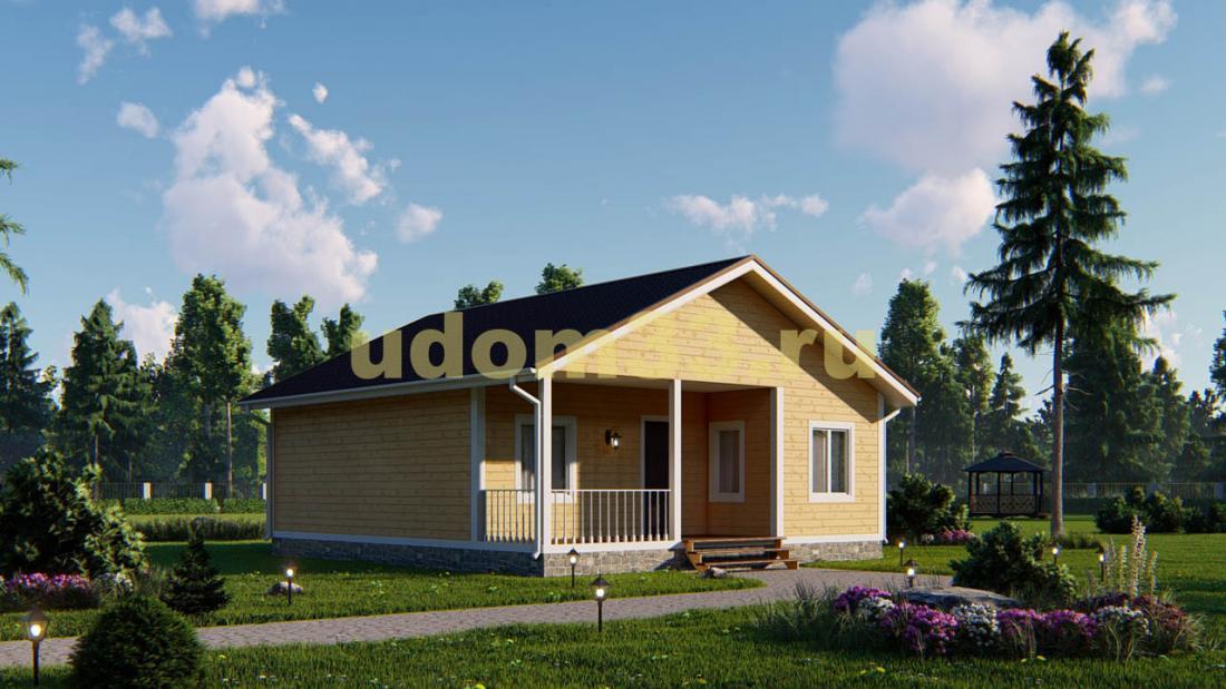 Одноэтажный каркасный дом под ключ. Проект ДК-72 «Бриз»