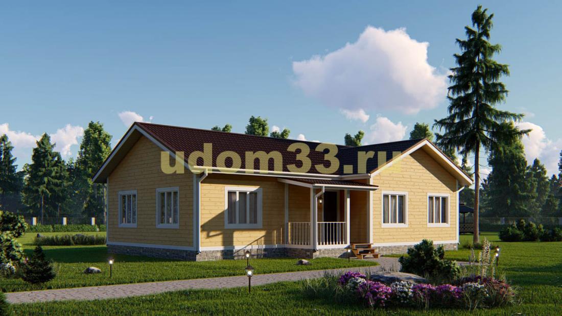 Одноэтажный каркасный дом под ключ. Проект ДК-83 «Егерь»