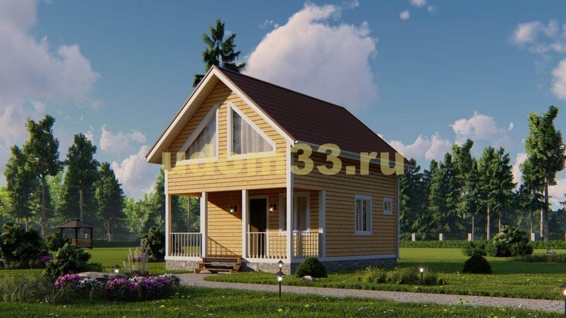Каркасный дом 6х8. Проект ДК-98 «Клин»