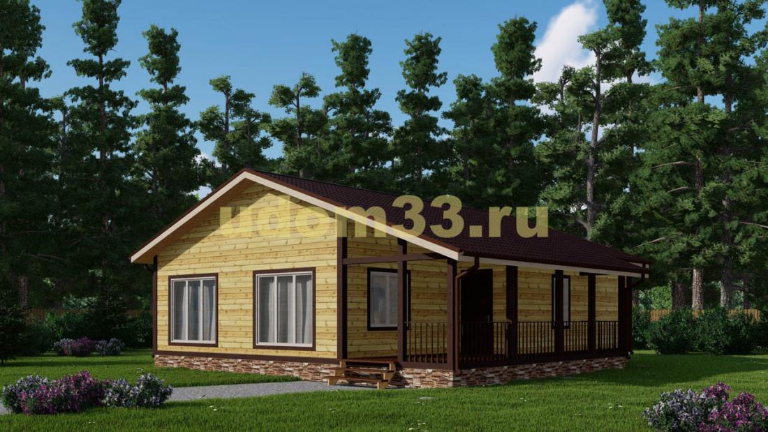 Большой одноэтажный дачный дом с террасой. Проект ДКД-35