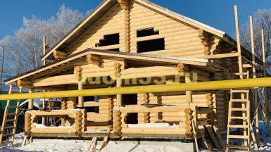 Строительство дома из оцилиндрованного бревна в деревне Угор Собинского района Владимирской области