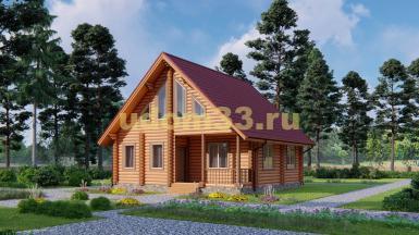 Дом из бревна 8.4х8.7 под ключ. Проект ДБР-11