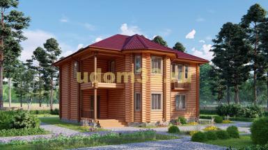 Дом из бревна 10.8х11.4 под ключ. Проект ДБР-14
