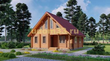 Дом из бревна 7.7х8.7 под ключ. Проект ДБР-2
