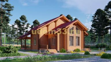 Дом из бревна 12.1х12.5 под ключ. Проект ДБР-22