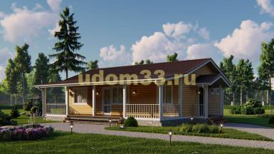 Большой одноэтажный каркасный дом с сауной и просторной террасой. Проект ДК-109 «Подольск»