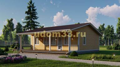 Одноэтажный каркасный дом с террасой и сауной 10.8х12.4. Проект ДК-111 «Королёв»