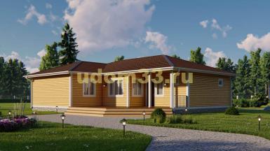Большой одноэтажный каркасный дом 13.6х16.2 с сауной. Проект ДК-113 «Истра»