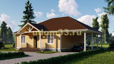 Одноэтажный каркасный дом 14.5х15 с навесом. Проект ДК-22