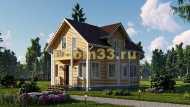 Двухэтажный каркасный дом 7х12 с эркером и балконами. Проект ДК-23