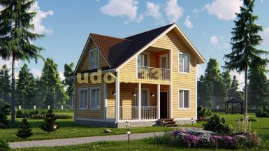 Двухэтажный каркасный дачный дом 6х8. Проект ДК-28