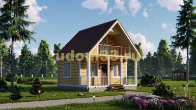 Небольшой каркасный домик 6х6 с балконом. Проект ДК-30