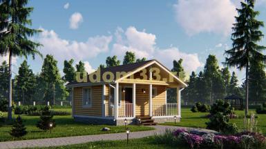 Каркасный дом 6 на 6 с террасой. Проект ДК-40