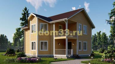 Двухэтажный каркасный дом 9.6х11 с эркером. Проект ДК-59