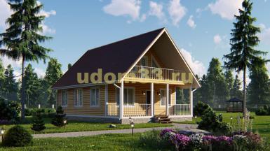 Каркасный дом 7.5х11 с террасой и балконом. Проект ДК-6