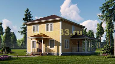 Просторный двухэтажный каркасный дом 8х10. Проект ДК-64