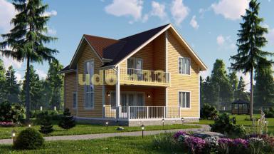 Большой двухэтажный каркасный дом 9.5х12.7. Проект ДК-7