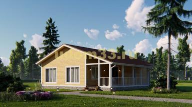 Просторный одноэтажный каркасный дом с террасой. Проект ДК-73 «Май»