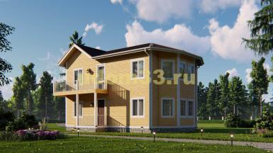 Двухэтажный каркасный дом с эркером. Проект ДК-80 «Форт»