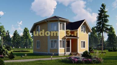 Каркасный дом в два этажа с эркером. Проект ДК-81 «Лидер»